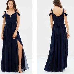 Bariano Thea Navy Chiffon Drape Dress Size XS